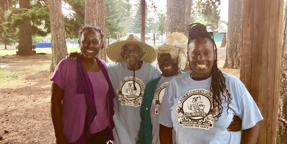 Alicia Wassink, Harriet Joyce Craven, Ethel Craven-Sweet, Jana Jefferson at Black Pioneer Family Annual Picnic