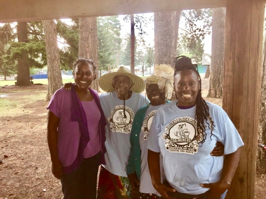 Alicia Wassink, Harriet Joyce Craven, Ethel Craven-Sweet, Jana Jefferson at Black Pioneer Family Annual Picnic