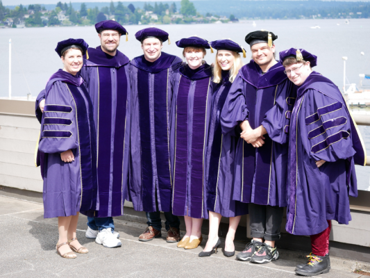 2019 PhD graduates in doctoral regalia at graduation