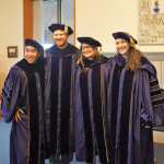 PhD grads Brent Woo, Michael Goodman, Alli Germain, and Laura Panfili