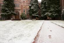 photo of UW campus with snow